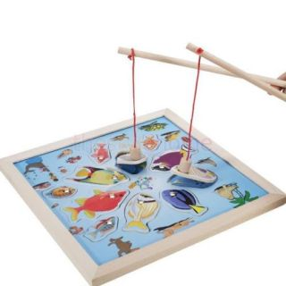 Wood Multicolor Magnetic Wooden Fishing Game Funny Toys w Pair of Rod for Kids