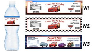 Cars Lightning McQueen Printed Water Bottle Labels Birthday Party Favors