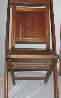 Vintage Simmons Co Wooden Wood Slat Folding Chair Used