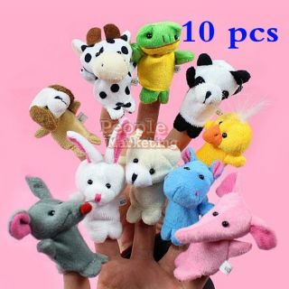10x Cartoon Biological Animal Finger Puppet Child Baby Favor Plush Toys Dolls