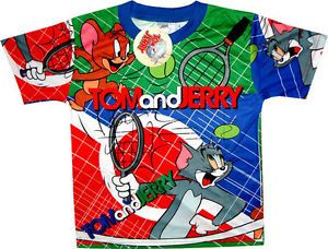 Tom and Jerry Tennis T Shirt Boys Girls Childrens Shirts Kids Clothes Toys Toy