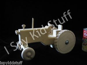 Natural Amish Handmade Wood Wooden Toy Farm Tractor for Kids Toy Tractors Fun