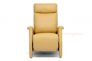 Modern Tan Faux Leather Recliner Home Theater Seating Club Chair Seat Designer
