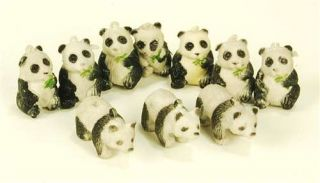 Plastic Panda Bears 10 Lot Mini Zoo Animals Toy Fun Craft Set Kids Gift 1""