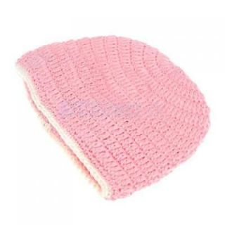 Double Flower Baby Crochet Hat Beanie Cap Princess Pink