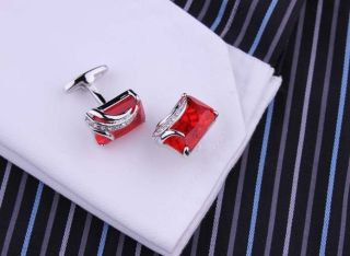 Mens Royal Silver Wedding Party Gift Shirt Crystal Cufflinks Cuff Links 5 Color