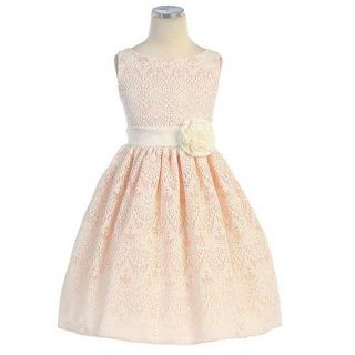 Sweet Kids Girls 10 Peach Vintage Lace Overlay Easter Dress