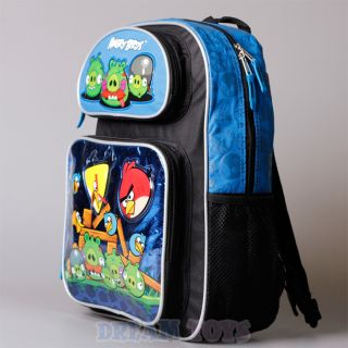 "Rovio Angry Birds Blue Metallic 16"" Large Backpack Book Bag Boys Girls Kids"