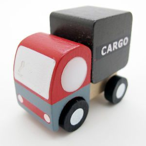 New Red White Hand Made Wooden Wood Mini Cargo Car Baby Kids Toys