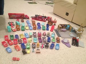 Huge 75 Disney Pixar Cars Movie Toys Lot Many RARE Trucks Playset Many RARE
