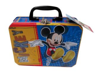 Disney Mickey Mouse Kids Metal Tin Tote Lunch Box Storage Rectangle Bag New