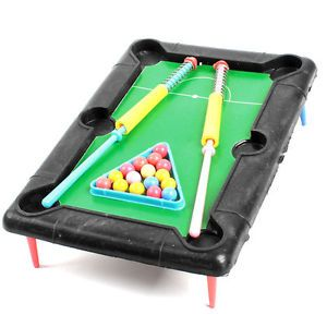Colorful Plastic Cue Pool Table Mini Billiards Game Toy Set for Children Kid