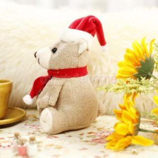 Cute Plush Christmas Bear Doll w Red Hat Scarf Gifts Toy Soft Comfortable New
