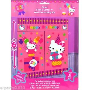 5pc Hello Kitty Birthday Scene Setter Wall Decorating Kit Poster Party Supplies