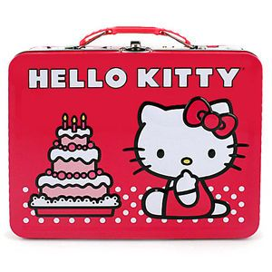 Hello Kitty Metal Tin Lunch Box Cake Kid Girls Tote Bag Carrier Cute Toys