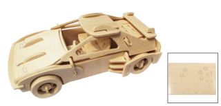 Children DIY Wooden 3D Puzzle Educational Toy Car Model Gift