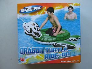 "Kids Inflatable Blowup Beach Pool Toy Dragon Turtle Ride on Float 58"" x 55"""