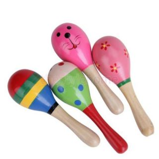 Colorful Baby Kids Maraca Wooden Percussion Musical Toy