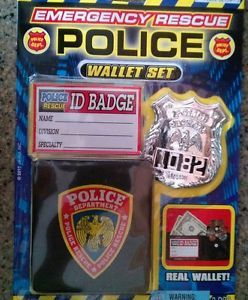 Police Wallet ID Card Badge w Clip Kids Toy Pretend Play