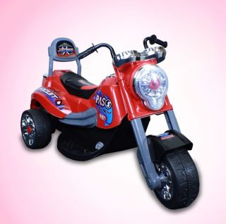 New Battery Powered Kids Ride on Toy Chopper Motorcycle Car 3 Wheel Red