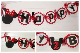 Red Polka Dot Minnie Mouse Happy Birthday Banner for Party