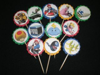 24 Super Mario Kart Birthday Cupcake Toppers Low SHIP
