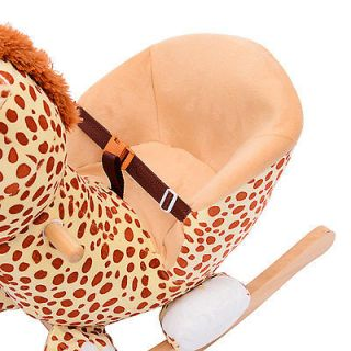 Qaba Baby Kids Toy Plush Rocking Horse Style Giraffe Theme Chair Seat Rocker