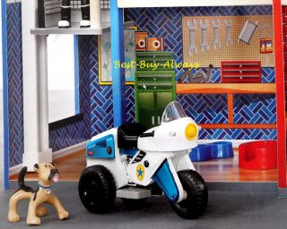 KidKraft Fire House Police Station Deluxe Wooden Kids Rescue Toy Truck Play Set