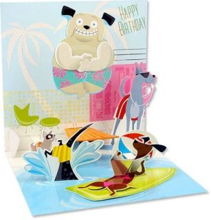 Cute 3D Pop Up Dog Pool Party Greeting Card Happy Birthday Animals Awsome