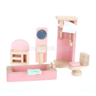 Dollhouse Furniture Wood Wooden Toy Bathroom Kids Bunk Bed Beroom Set
