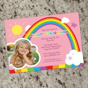 Rainbow Party Colorful Rainbow Themed Invitations Girl Birthday Personalized