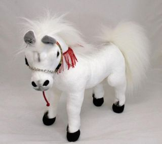 "Horse Arabian White Soft Plush Toy Stuffed Animal 13"" 33cm New Aussie Seller"