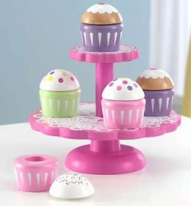2 Tier Cupcake Stand Party Play Set Kids Chef Kitchen Toy Childrens Wood Wooden