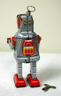 Tin Toy Silver Metal Robot Wind Up Vintage Style 7""
