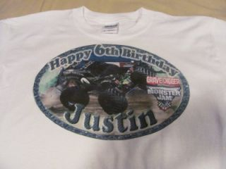 Monster Jam Gravedigger Custom Personalized Birthday Party Supplies T Shirt
