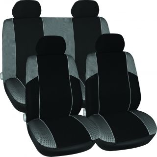 11pc Black Grey Racing Style Sports Car Seat Chair Protector Covers Set Pack