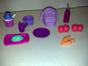 Littlest Pet Shop LPS Accessory 10 Items Grab Bag Purple Register Food Bottle
