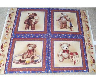 4 Teddy Bear with Me Pillow Panels Fabric Cotton Children Baby Toys