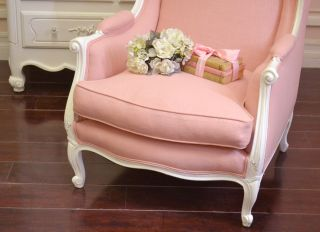 Shabby Cottage Chic Pink Linen Wingchair Armchair French Vintage Style Romantic