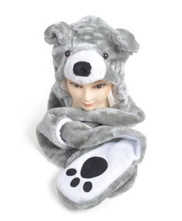 Animal Hat Teddy Bear Grey Plush Stuffed Winter Paws One Size