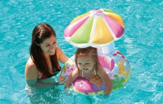 Intex Fish Friends Baby Float Inflatable Pool Tube Raft w Canopy 56583EP