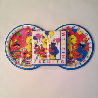 Sesame Street Elmo Big Bird Cookie Monster Birthday Party Paper Plates Napkins