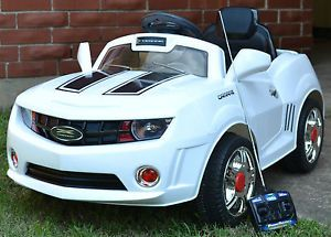 Power Ride on White Camaro Style Kids Radio Remote Control Wheels Car