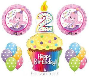 2nd Birthday Care Bears Balloons Party Supplies Cupcake Candle Pink Girls Second