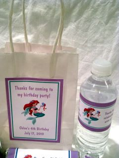 Princess Ariel Little Mermaid Birthday PDF CD w Invitation Favors Candy Water
