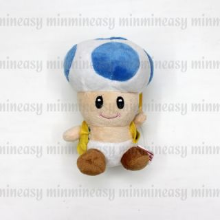 "Nintendo Super Mario Bros Blue 7"" Mushroom Toad Soft Stuffed Toy Plush Doll"