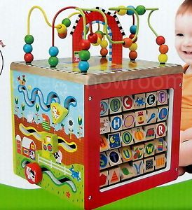 New Baby Activity Center Cube 5 Side My Busy Farm Wooden Wood Educational Toy