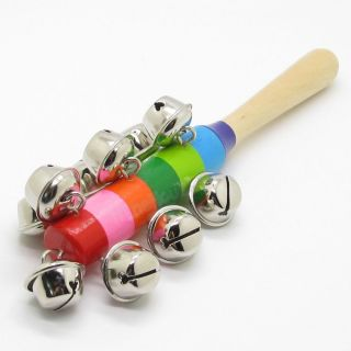 Colorful Wooden Jingle Hand Metal Bells for Kids Baby Cradle Music Shake Toys