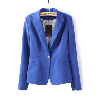 New Women's Fashion Casual Lapel OME Button Tunic Slim Suit Blazer Coat Jacket