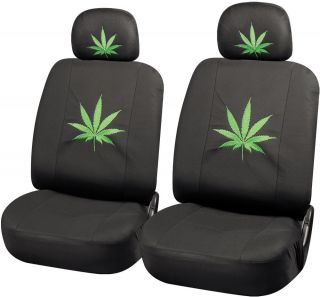 6pc Green 420 Weed Marijuana Leaf Bucket Chair Low Back Front Van Seat Cover Set